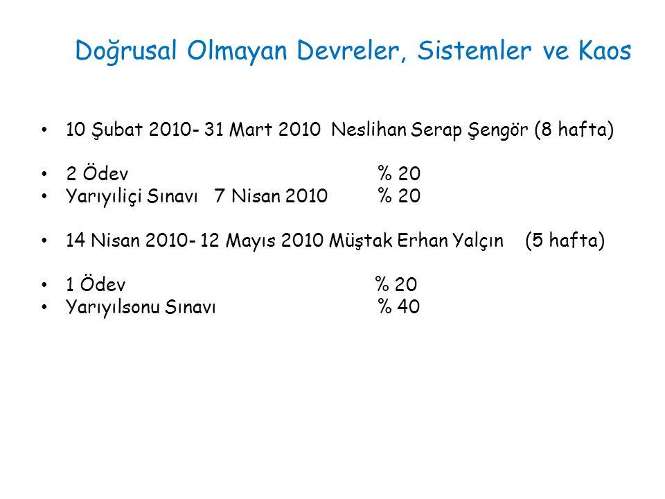10 Şubat 2010- 31 Mart 2010 Neslihan Serap Şengör (8 hafta) 2 Ödev % 20 Yarıyıliçi Sınavı 7 Nisan 2010 % 20 14 Nisan 2010- 12 Mayıs 2010 Müştak Erhan