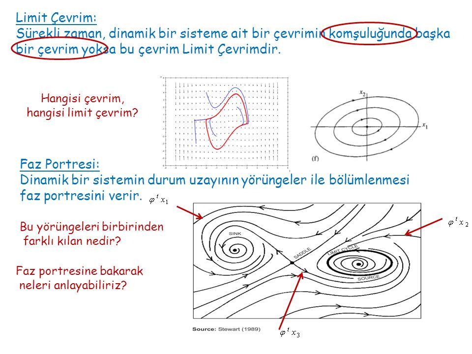 Faz Portresi: Dinamik bir sistemin durum uzayının yörüngeler ile bölümlenmesi faz portresini verir. Limit Çevrim: Sürekli zaman, dinamik bir sisteme a