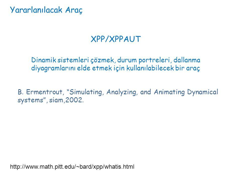 Yararlanılacak Araç http://www.math.pitt.edu/~bard/xpp/whatis.html XPP/XPPAUT Dinamik sistemleri çözmek, durum portreleri, dallanma diyagramlarını eld
