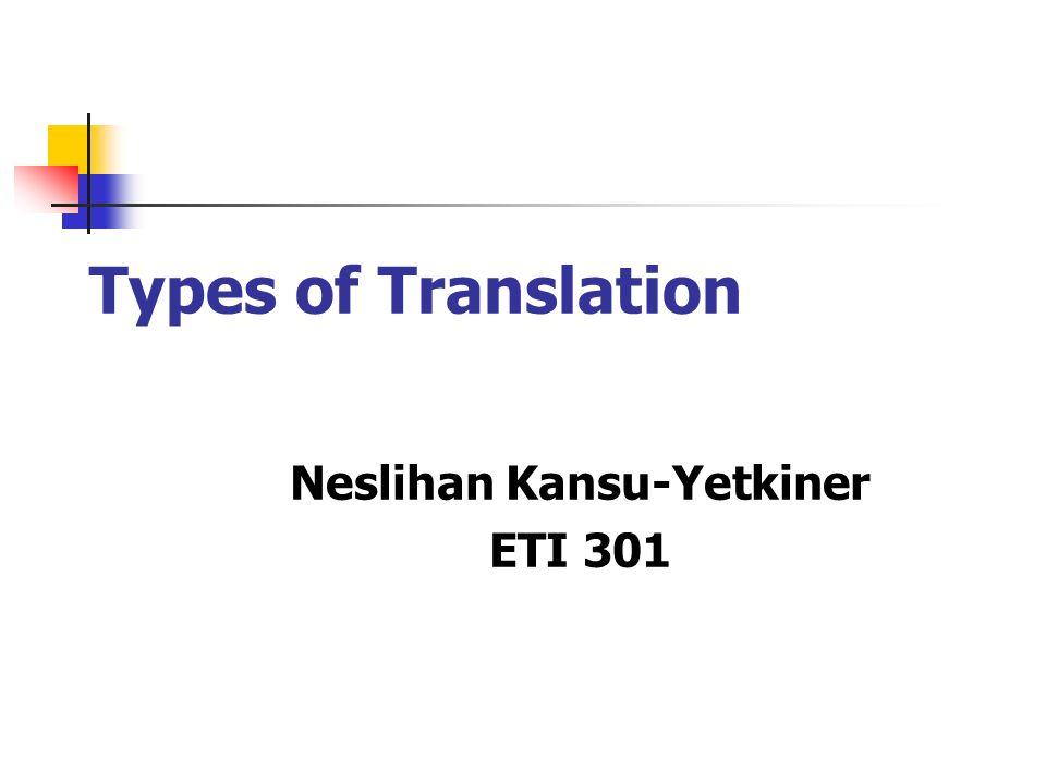 Types of Translation Neslihan Kansu-Yetkiner ETI 301