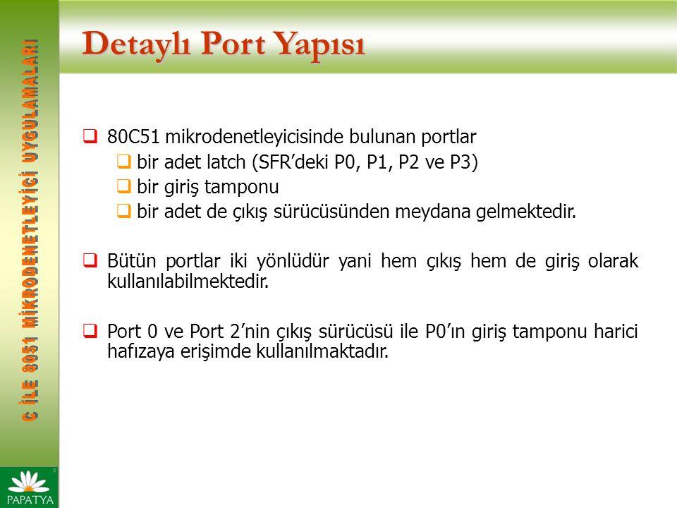 Detaylı Port Yapısı  80C51 mikrodenetleyicisinde bulunan portlar  bir adet latch (SFR'deki P0, P1, P2 ve P3)  bir giriş tamponu  bir adet de çıkış