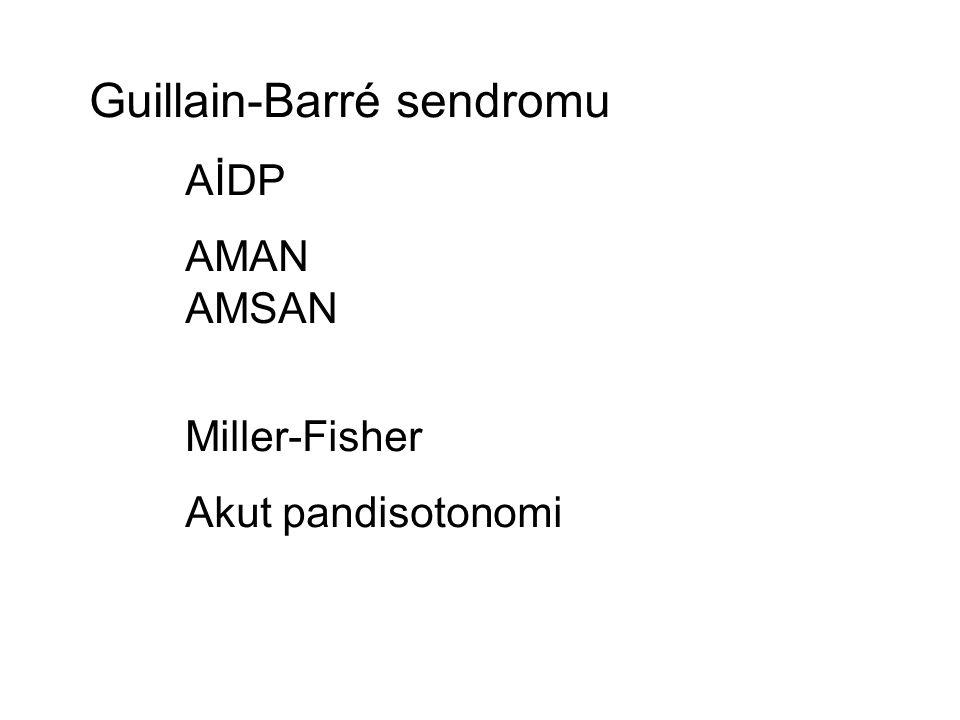 Guillain-Barré sendromu AİDP AMAN AMSAN Miller-Fisher Akut pandisotonomi