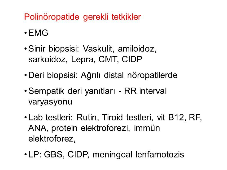 Polinöropatide gerekli tetkikler EMG Sinir biopsisi: Vaskulit, amiloidoz, sarkoidoz, Lepra, CMT, CIDP Deri biopsisi: Ağrılı distal nöropatilerde Sempa