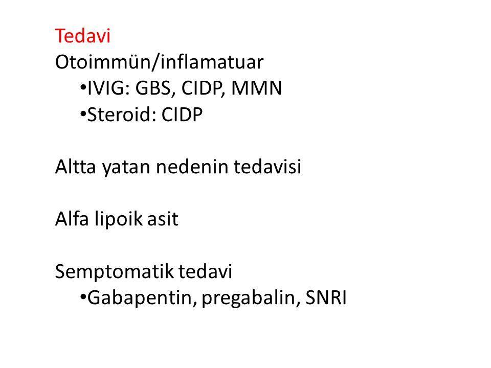 Tedavi Otoimmün/inflamatuar IVIG: GBS, CIDP, MMN Steroid: CIDP Altta yatan nedenin tedavisi Alfa lipoik asit Semptomatik tedavi Gabapentin, pregabalin