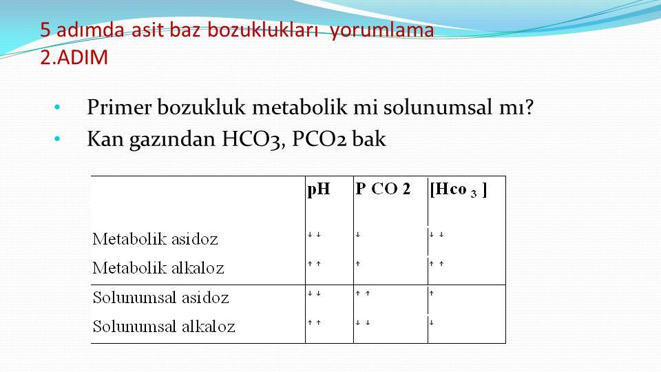 5 adımda asit baz bozuklukları yorumlama 2.ADIM Primer bozukluk metabolik mi solunumsal mı.