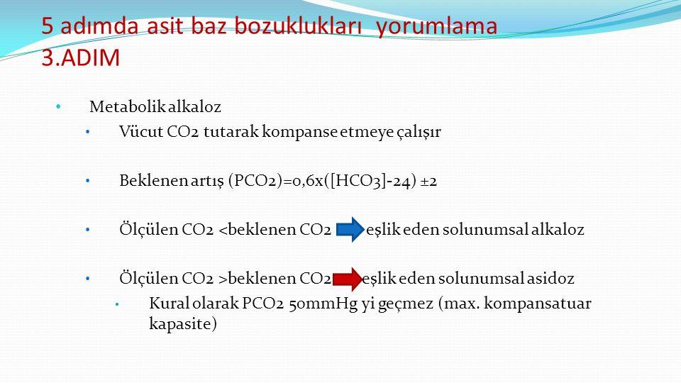 5 adımda asit baz bozuklukları yorumlama 3.ADIM Metabolik alkaloz Vücut CO2 tutarak kompanse etmeye çalışır Beklenen artış (PCO2)=0,6x([HCO3]-24) ±2 Ölçülen CO2 <beklenen CO2 eşlik eden solunumsal alkaloz Ölçülen CO2 >beklenen CO2 eşlik eden solunumsal asidoz Kural olarak PCO2 50mmHg yi geçmez (max.