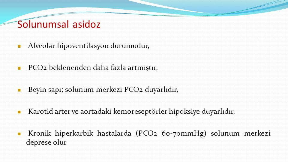 Solunumsal asidoz Alveolar hipoventilasyon durumudur, PCO2 beklenenden daha fazla artmıştır, Beyin sapı; solunum merkezi PCO2 duyarlıdır, Karotid arter ve aortadaki kemoreseptörler hipoksiye duyarlıdır, Kronik hiperkarbik hastalarda (PCO2 60-70mmHg) solunum merkezi deprese olur
