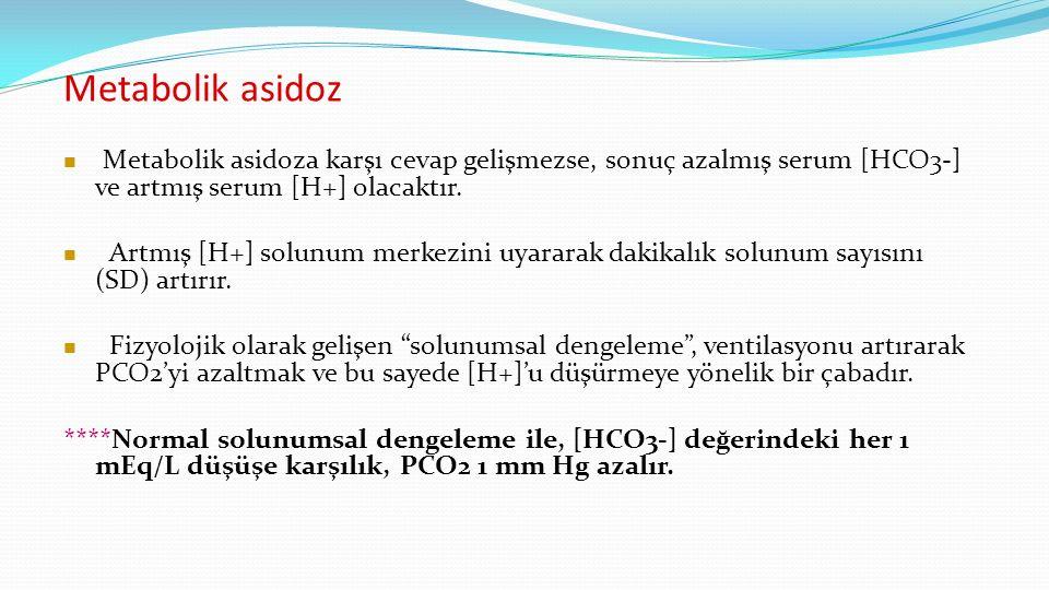 Metabolik asidoz Metabolik asidoza karşı cevap gelişmezse, sonuç azalmış serum [HCO3-] ve artmış serum [H+] olacaktır.
