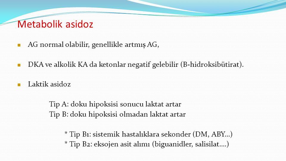 Metabolik asidoz AG normal olabilir, genellikle artmış AG, DKA ve alkolik KA da ketonlar negatif gelebilir (B-hidroksibütirat).