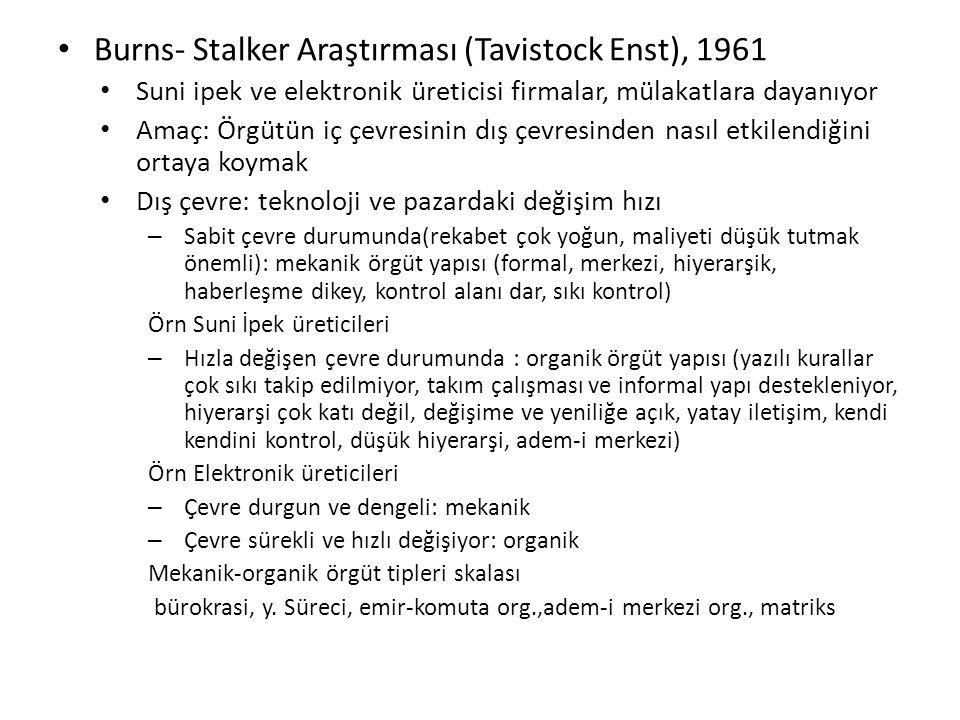 Burns- Stalker Araştırması (Tavistock Enst), 1961 Suni ipek ve elektronik üreticisi firmalar, mülakatlara dayanıyor Amaç: Örgütün iç çevresinin dış çe