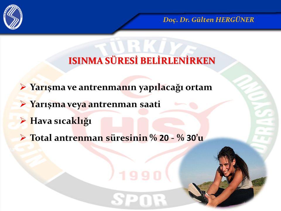 ISINMA SÜRESİ BELİRLENİRKEN  Yarışma ve antrenmanın yapılacağı ortam  Yarışma veya antrenman saati  Hava sıcaklığı  Total antrenman süresinin % 20