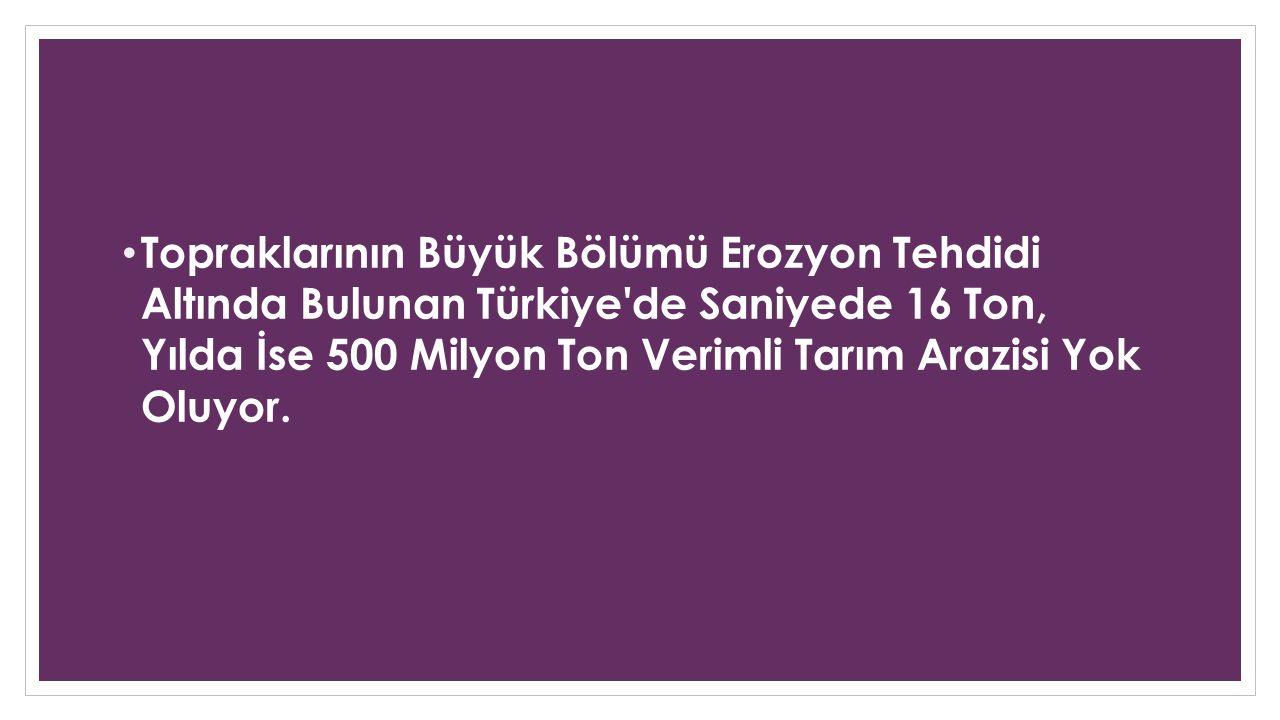 Topraklarının Büyük Bölümü Erozyon Tehdidi Altında Bulunan Türkiye'de Saniyede 16 Ton, Yılda İse 500 Milyon Ton Verimli Tarım Arazisi Yok Oluyor.