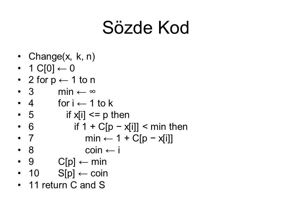 Sözde Kod Change(x, k, n) 1 C[0] ← 0 2 for p ← 1 to n 3 min ← ∞ 4 for i ← 1 to k 5 if x[i] <= p then 6 if 1 + C[p − x[i]] < min then 7 min ← 1 + C[p −