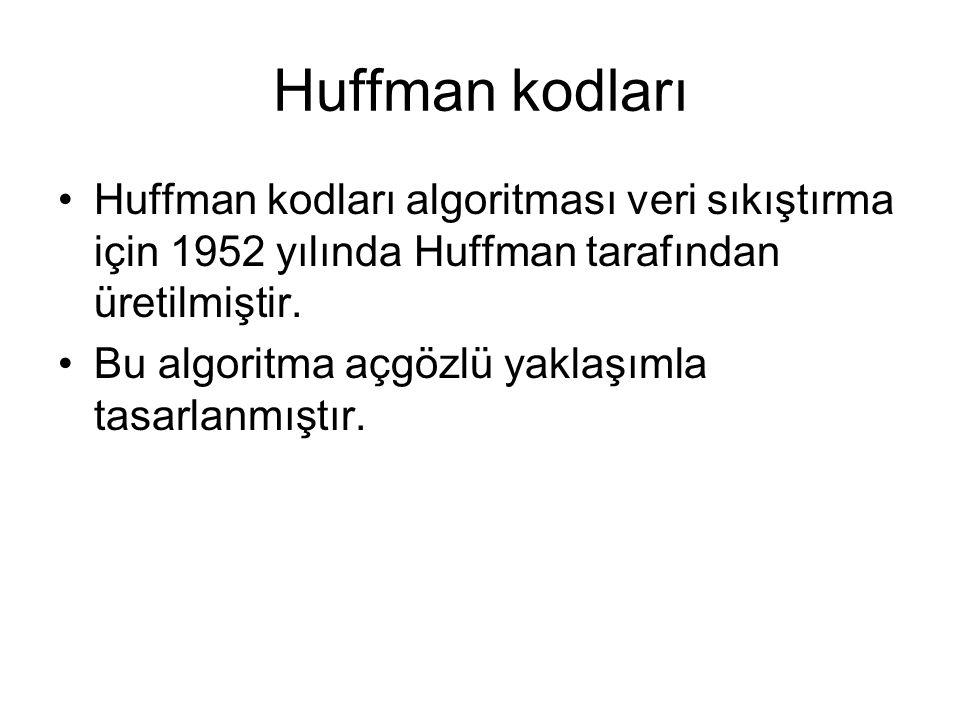 Huffman kodları Huffman kodları algoritması veri sıkıştırma için 1952 yılında Huffman tarafından üretilmiştir. Bu algoritma açgözlü yaklaşımla tasarla