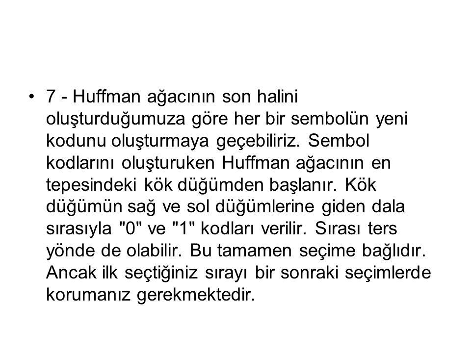 7 - Huffman ağacının son halini oluşturduğumuza göre her bir sembolün yeni kodunu oluşturmaya geçebiliriz. Sembol kodlarını oluşturuken Huffman ağacın
