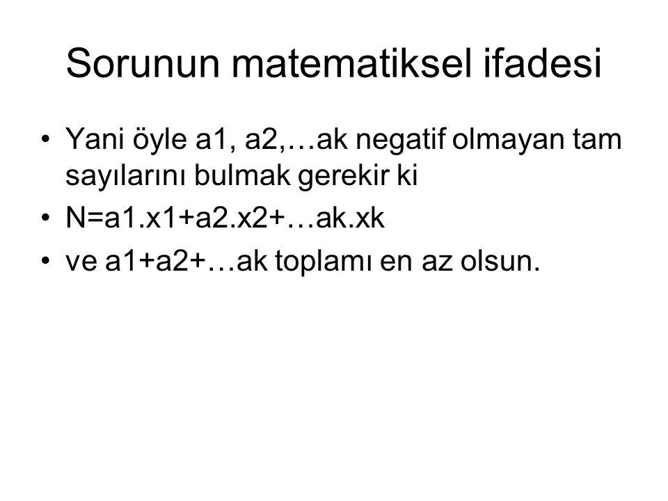 Sorunun matematiksel ifadesi Yani öyle a1, a2,…ak negatif olmayan tam sayılarını bulmak gerekir ki N=a1.x1+a2.x2+…ak.xk ve a1+a2+…ak toplamı en az ols