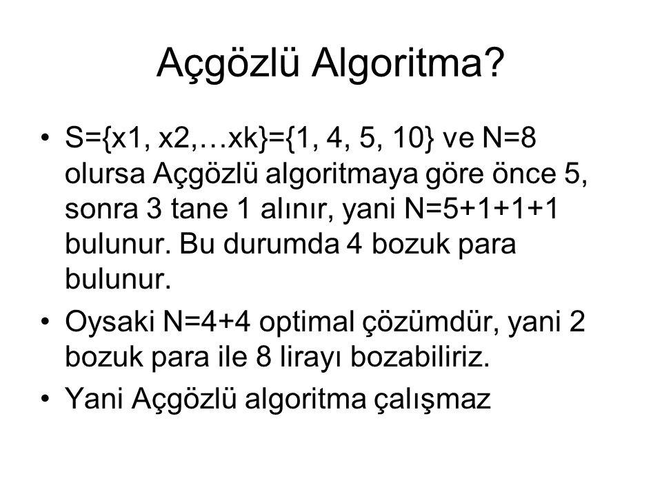Açgözlü Algoritma? S={x1, x2,…xk}={1, 4, 5, 10} ve N=8 olursa Açgözlü algoritmaya göre önce 5, sonra 3 tane 1 alınır, yani N=5+1+1+1 bulunur. Bu durum