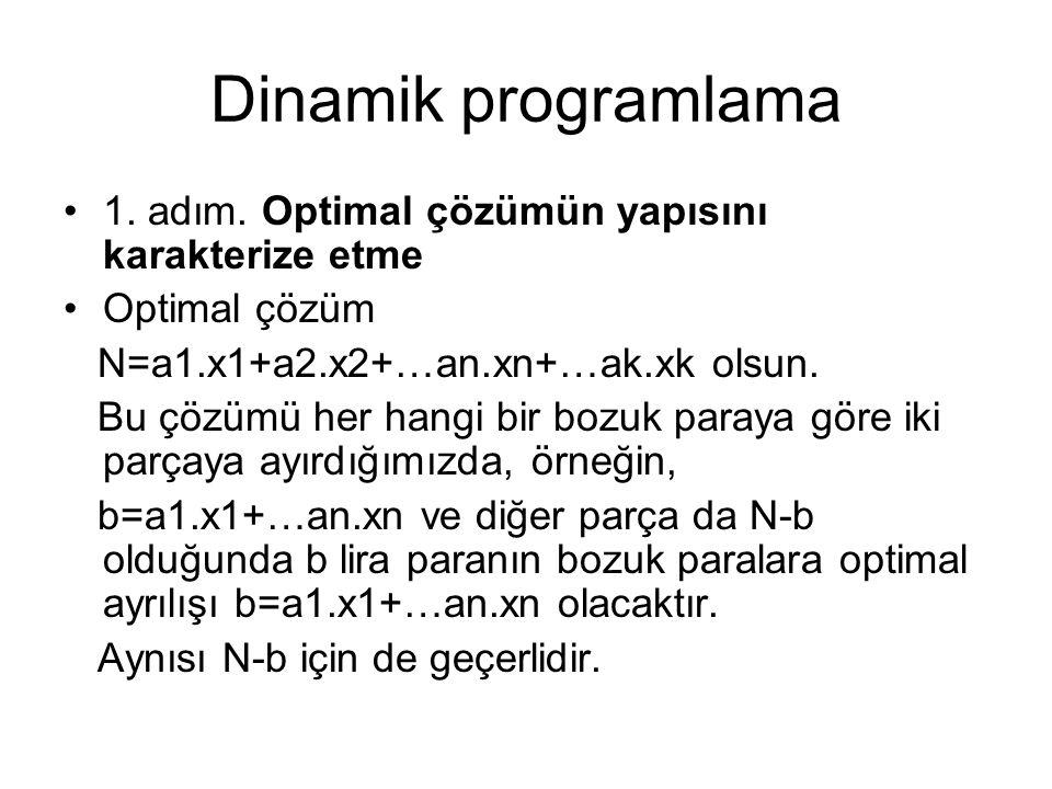 Dinamik programlama 1. adım. Optimal çözümün yapısını karakterize etme Optimal çözüm N=a1.x1+a2.x2+…an.xn+…ak.xk olsun. Bu çözümü her hangi bir bozuk