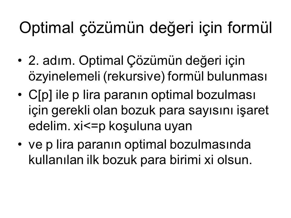 Optimal çözümün değeri için formül 2. adım. Optimal Çözümün değeri için özyinelemeli (rekursive) formül bulunması C[p] ile p lira paranın optimal bozu