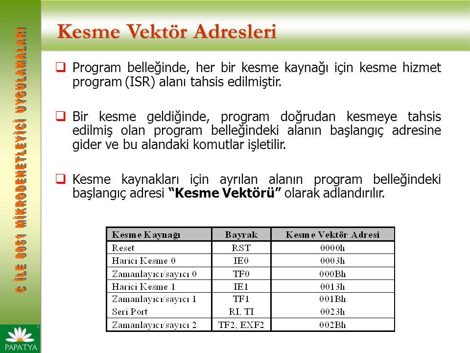 Kesme Vektör Adresleri  Program belleğinde, her bir kesme kaynağı için kesme hizmet program (ISR) alanı tahsis edilmiştir.