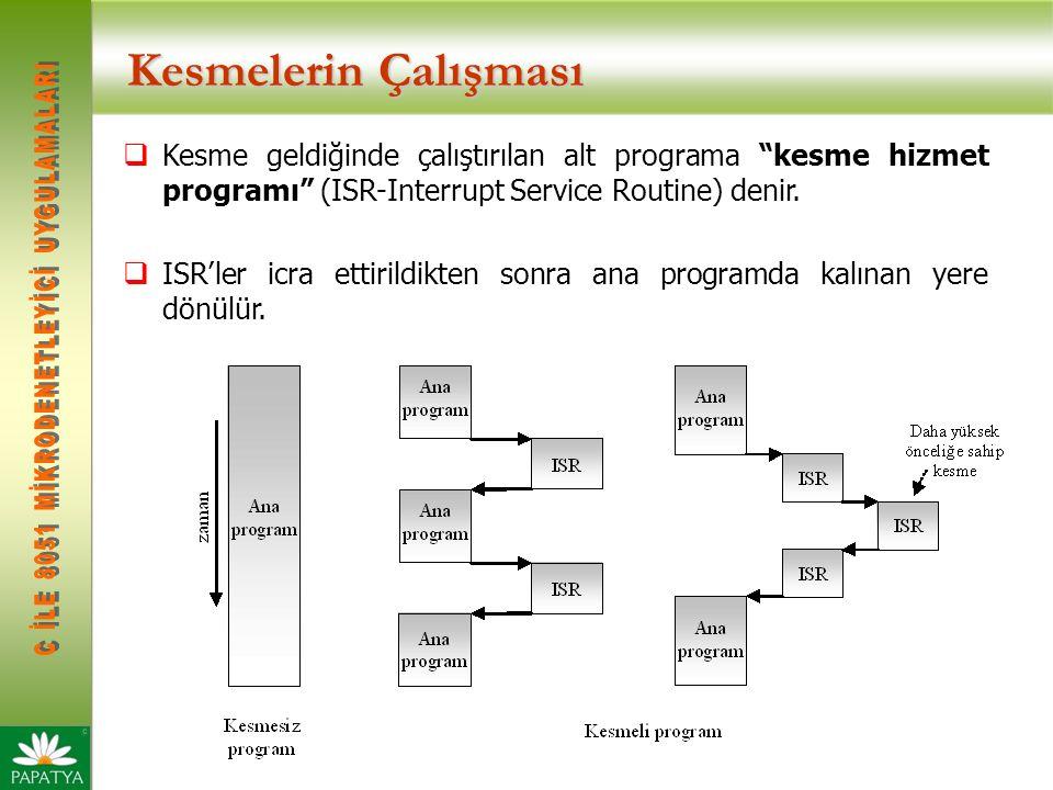 Kesmelerin Çalışması  Kesme geldiğinde çalıştırılan alt programa kesme hizmet programı (ISR-Interrupt Service Routine) denir.