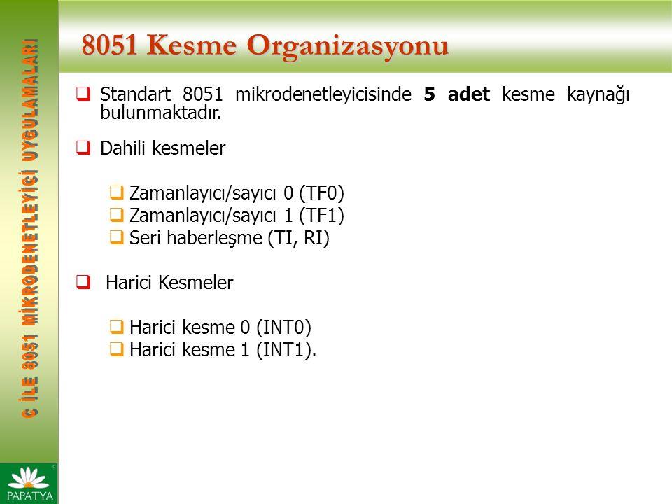 8051 Kesme Organizasyonu  Standart 8051 mikrodenetleyicisinde 5 adet kesme kaynağı bulunmaktadır.