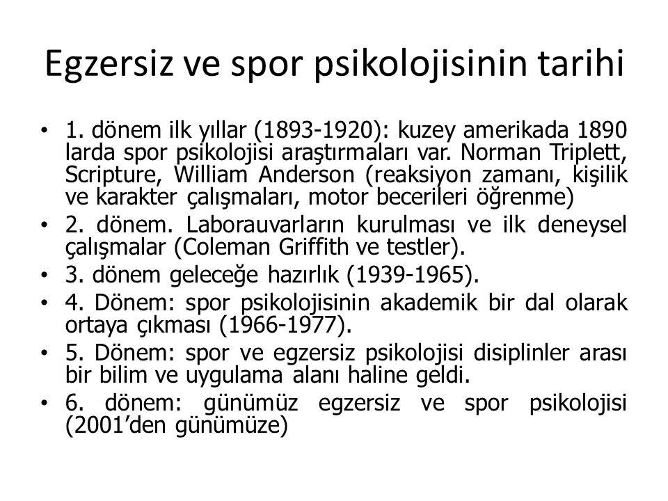 Egzersiz ve spor psikolojisinin tarihi 1. dönem ilk yıllar (1893-1920): kuzey amerikada 1890 larda spor psikolojisi araştırmaları var. Norman Triplett