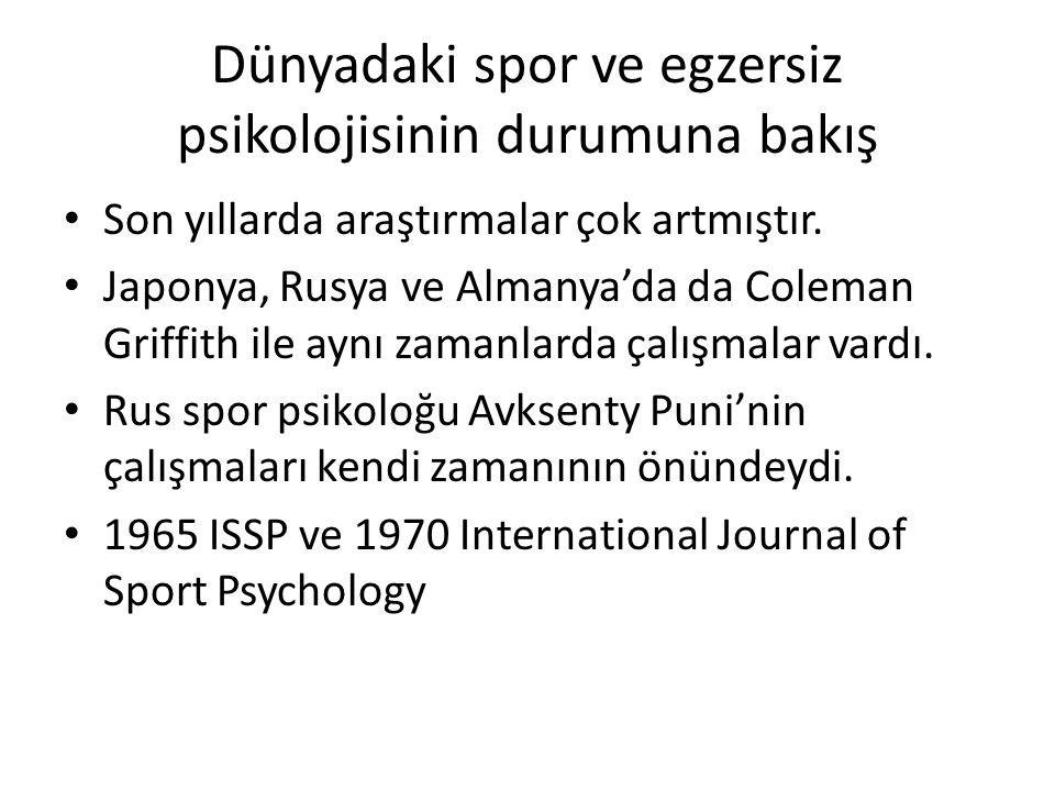 Dünyadaki spor ve egzersiz psikolojisinin durumuna bakış Son yıllarda araştırmalar çok artmıştır. Japonya, Rusya ve Almanya'da da Coleman Griffith ile