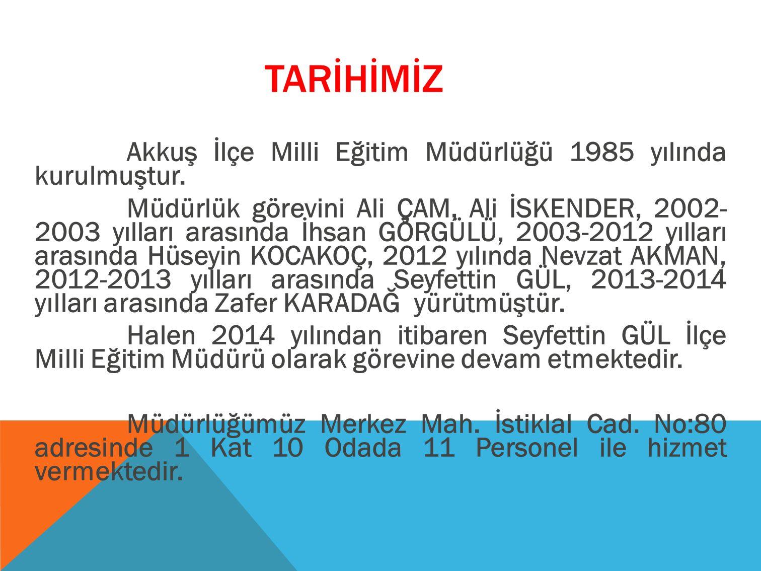TARİHİMİZ Akkuş İlçe Milli Eğitim Müdürlüğü 1985 yılında kurulmuştur.