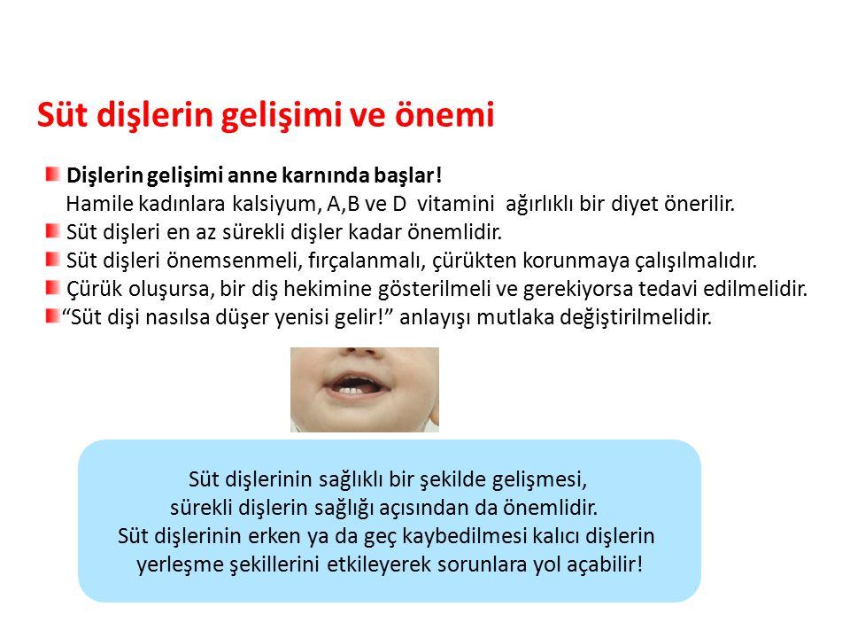 Süt dişlerin gelişimi ve önemi Parlak Gülüşler Parlak Gelecekeler Dişlerin gelişimi anne karnında başlar! Hamile kadınlara kalsiyum, A,B ve D vitamini