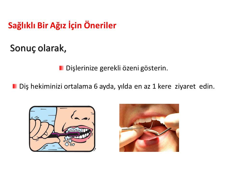 Sonuç olarak, Dişlerinize gerekli özeni gösterin. Diş hekiminizi ortalama 6 ayda, yılda en az 1 kere ziyaret edin. Sağlıklı Bir Ağız İçin Öneriler