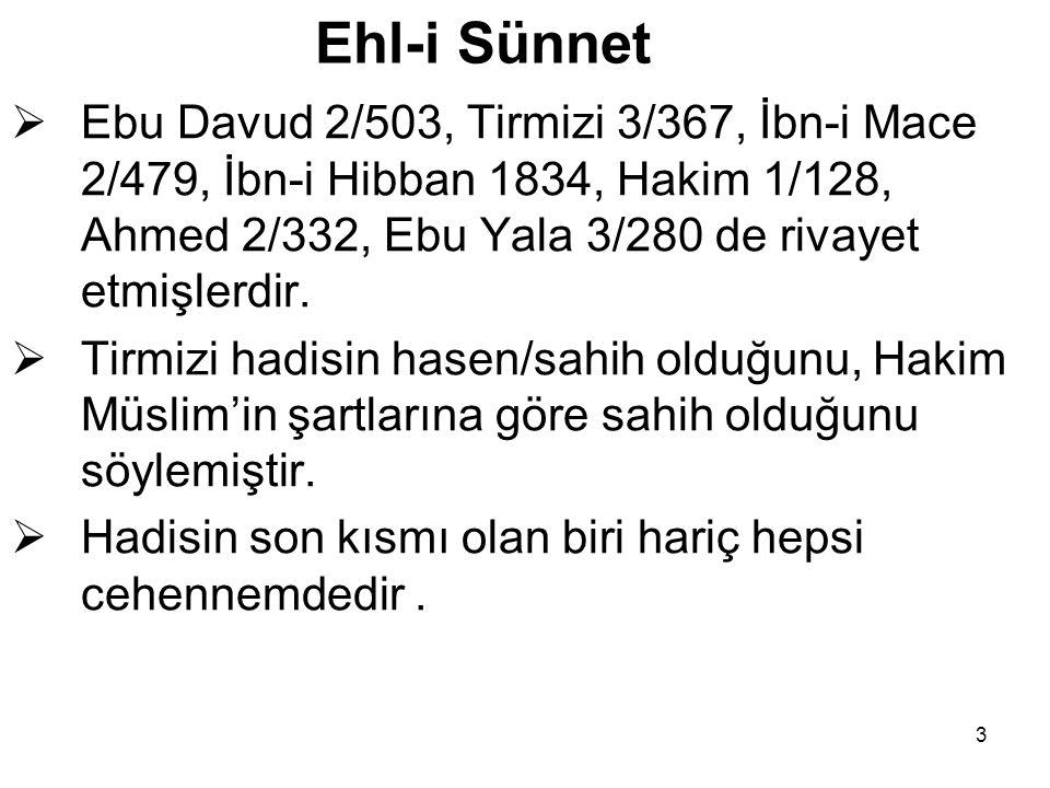 3 Ehl-i Sünnet  Ebu Davud 2/503, Tirmizi 3/367, İbn-i Mace 2/479, İbn-i Hibban 1834, Hakim 1/128, Ahmed 2/332, Ebu Yala 3/280 de rivayet etmişlerdir.