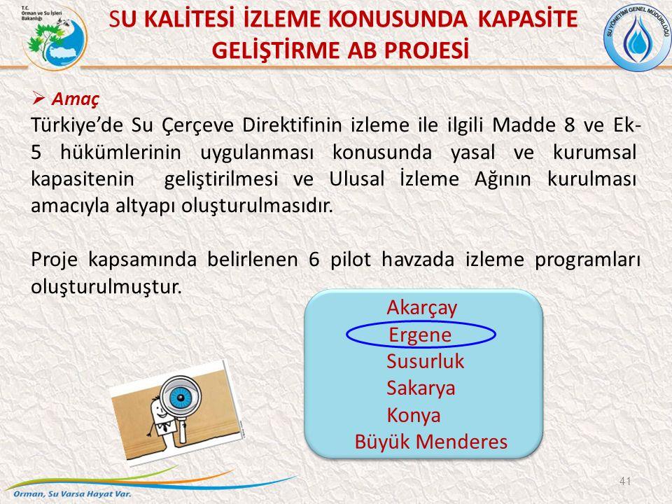 SU KALİTESİ İZLEME KONUSUNDA KAPASİTE GELİŞTİRME AB PROJESİ 41  Amaç Türkiye'de Su Çerçeve Direktifinin izleme ile ilgili Madde 8 ve Ek- 5 hükümlerinin uygulanması konusunda yasal ve kurumsal kapasitenin geliştirilmesi ve Ulusal İzleme Ağının kurulması amacıyla altyapı oluşturulmasıdır.