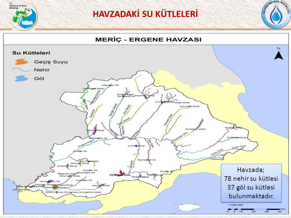 HAVZADAKİ SU KÜTLELERİ 42 Havzada; 78 nehir su kütlesi 37 göl su kütlesi bulunmaktadır.