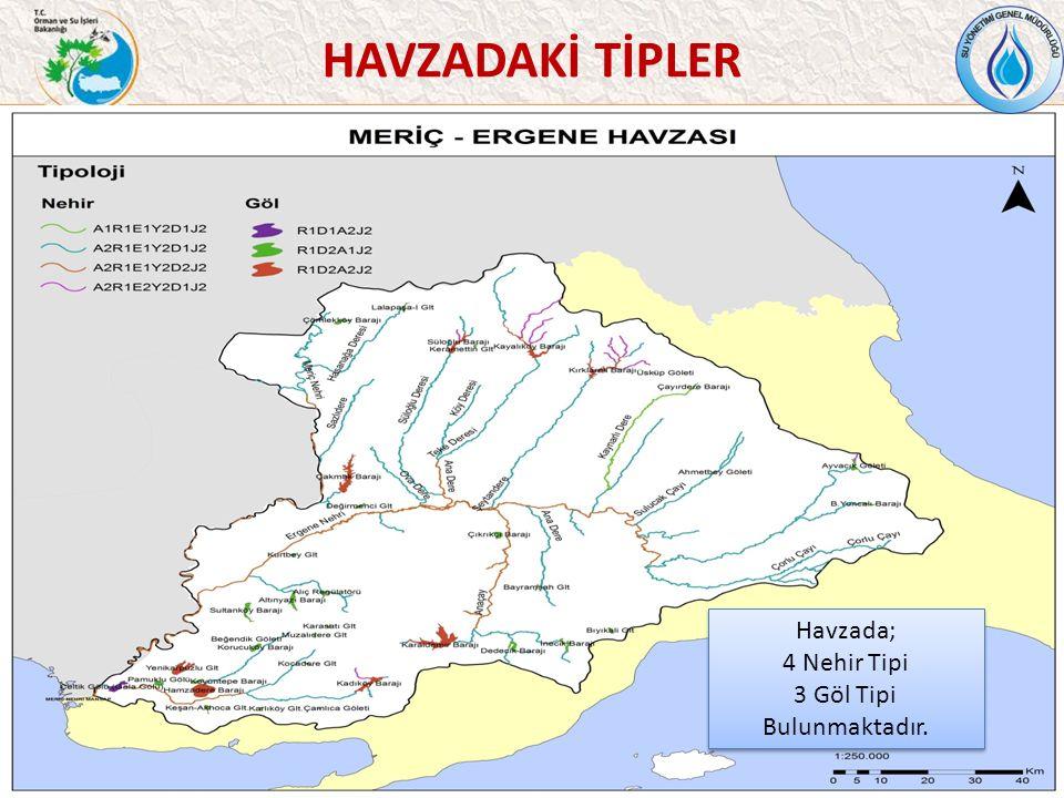 HAVZADAKİ TİPLER 43 Havzada; 4 Nehir Tipi 3 Göl Tipi Bulunmaktadır.