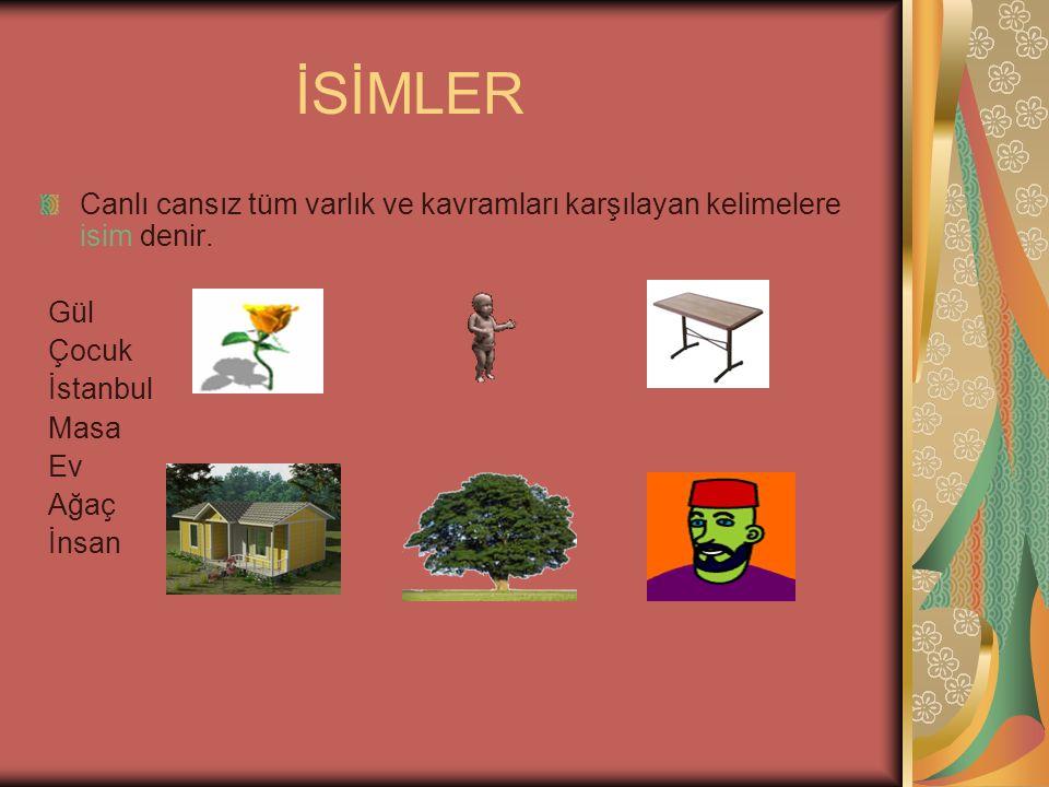 İSİMLER Canlı cansız tüm varlık ve kavramları karşılayan kelimelere isim denir. Gül Çocuk İstanbul Masa Ev Ağaç İnsan