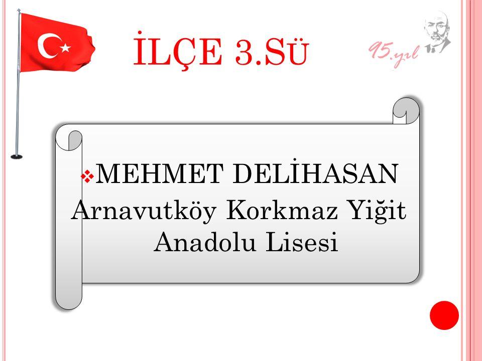 İLÇE 3.S Ü MMEHMET DELİHASAN Arnavutköy Korkmaz Yiğit Anadolu Lisesi