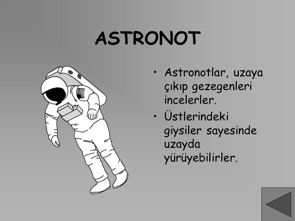 ASTRONOT Astronotlar, uzaya çıkıp gezegenleri incelerler. Üstlerindeki giysiler sayesinde uzayda yürüyebilirler.