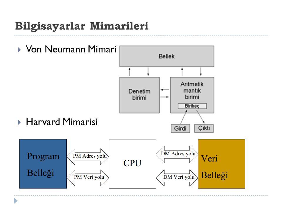Bilgisayarlar Mimarileri  Von Neumann Mimarisi  Harvard Mimarisi