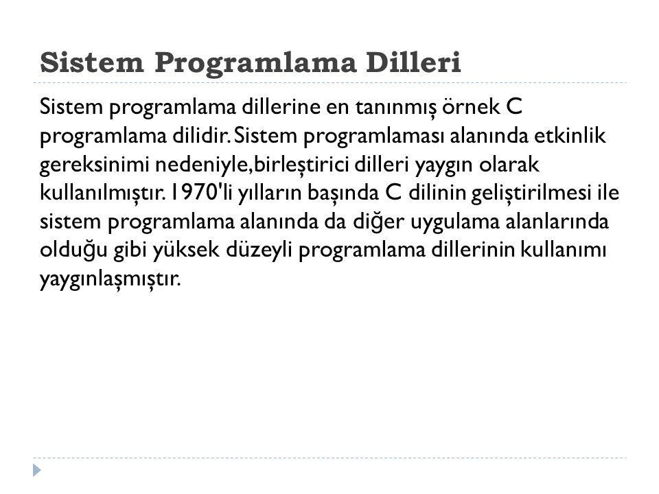 Sistem Programlama Dilleri Sistem programlama dillerine en tanınmış örnek C programlama dilidir.