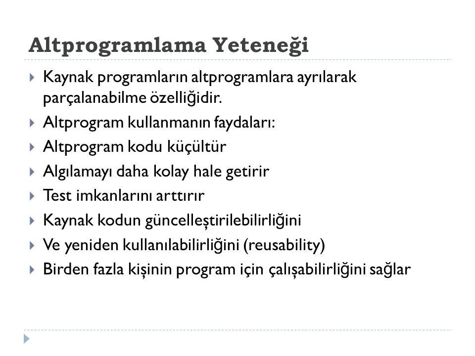 Altprogramlama Yeteneği  Kaynak programların altprogramlara ayrılarak parçalanabilme özelli ğ idir.  Altprogram kullanmanın faydaları:  Altprogram