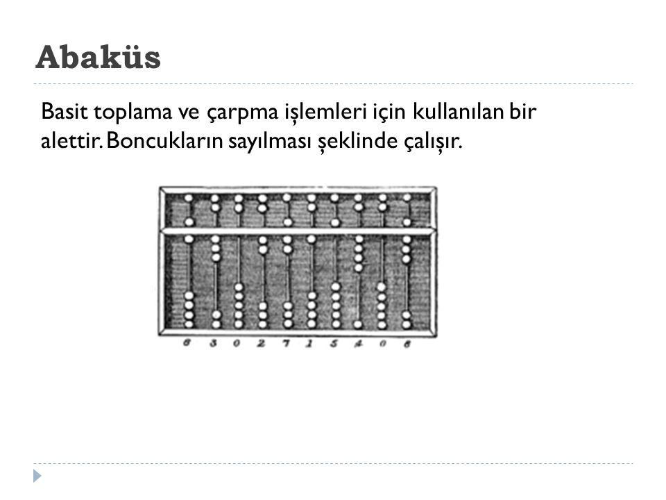 Abaküs Basit toplama ve çarpma işlemleri için kullanılan bir alettir. Boncukların sayılması şeklinde çalışır.