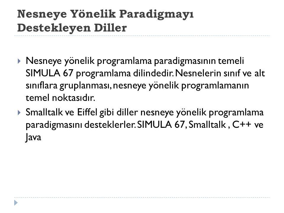 Nesneye Yönelik Paradigmayı Destekleyen Diller  Nesneye yönelik programlama paradigmasının temeli SIMULA 67 programlama dilindedir. Nesnelerin sınıf