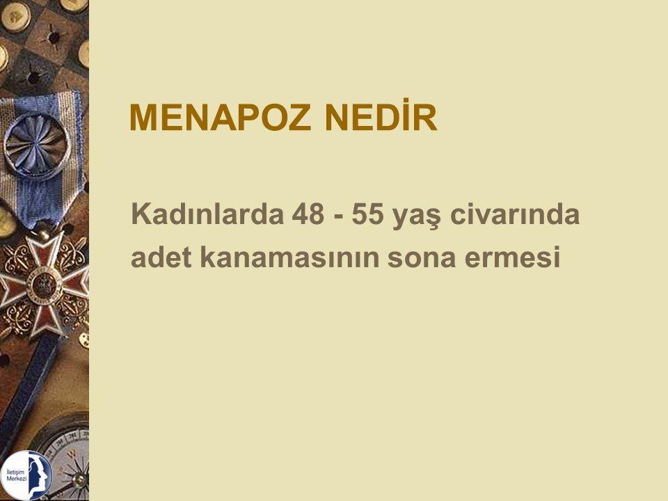 MENAPOZ NEDİR Kadınlarda 48 - 55 yaş civarında adet kanamasının sona ermesi