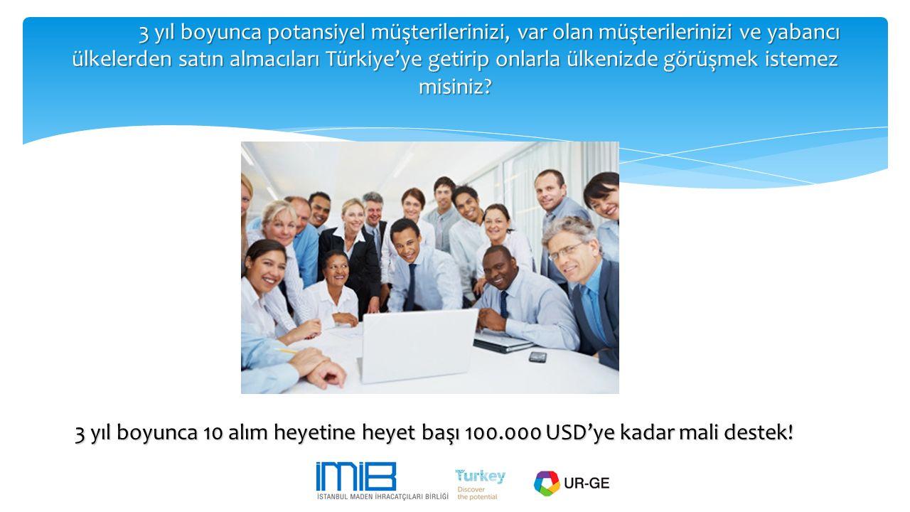 3 yıl boyunca potansiyel müşterilerinizi, var olan müşterilerinizi ve yabancı ülkelerden satın almacıları Türkiye'ye getirip onlarla ülkenizde görüşme