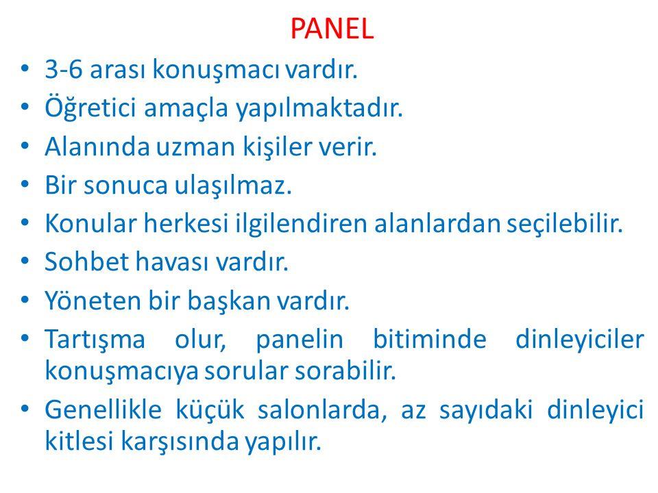 PANEL 3-6 arası konuşmacı vardır. Öğretici amaçla yapılmaktadır.