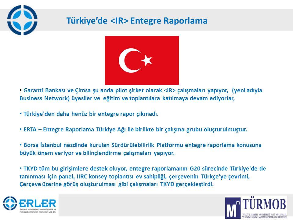 18 Türkiye'de Entegre Raporlama Garanti Bankası ve Çimsa şu anda pilot şirket olarak çalışmaları yapıyor, (yeni adıyla Business Network) üyesiler ve e