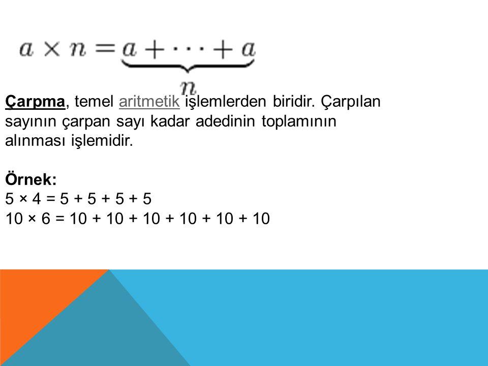 Çarpma, temel aritmetik işlemlerden biridir. Çarpılan sayının çarpan sayı kadar adedinin toplamının alınması işlemidir.aritmetik Örnek: 5 × 4 = 5 + 5