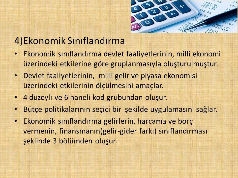 4)Ekonomik Sınıflandırma Ekonomik sınıflandırma devlet faaliyetlerinin, milli ekonomi üzerindeki etkilerine göre gruplanmasıyla oluşturulmuştur. Devle