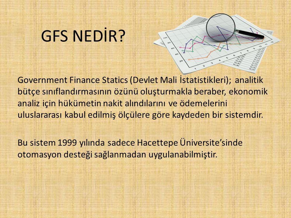 GFS NEDİR? Government Finance Statics (Devlet Mali İstatistikleri); analitik bütçe sınıflandırmasının özünü oluşturmakla beraber, ekonomik analiz için